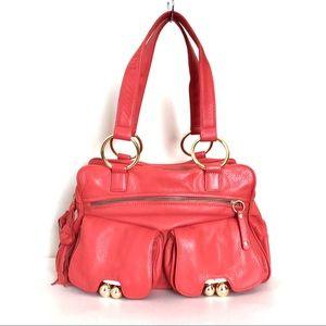BULGA Buttery Leather Kiss-lock Pockets Pink Bag